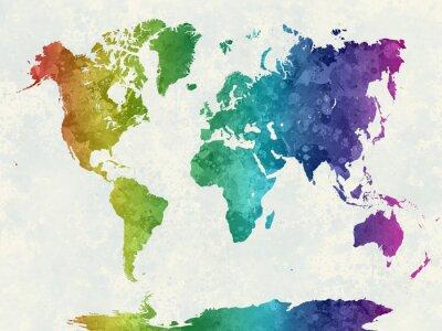 Плакат Карта мира в акварельной радуги