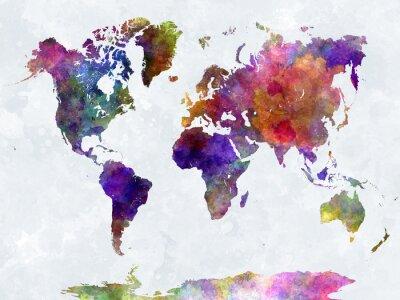 Плакат Карта мира акварелью фиолетовый и синий