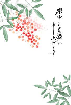 Плакат 南天の実 寒中見舞い 背景 水彩 イラスト