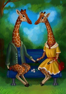 Плакат Жираф на свидание