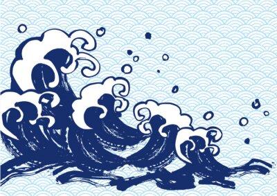 Плакат 海 毛筆 水色