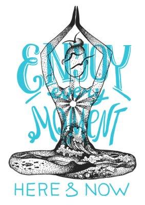 Плакат Поза медитации йоги. Графический вектор рисованной иллюстрации