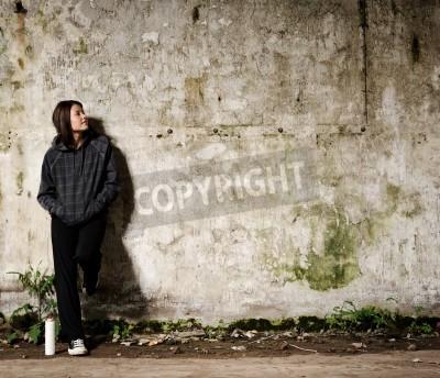 Плакат Молодежь планирует граффити росписи на вакантную пустой стене