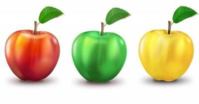 Наклейка 3 Apfel гниль, зелёное, жёлтое, freigestellt