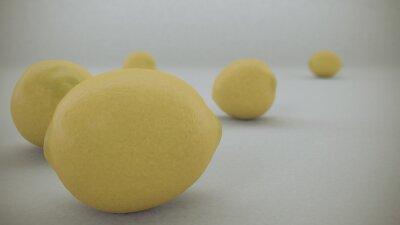 Наклейка 3 D визуализации Желтые лимонов на белом фоне меха из воздуха и проката на белом бесконечной поверхности.