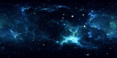 Наклейка Панорама 360-градусной космической туманности, равносторонняя проекция, карта окружающей среды. HDRI сферическая панорама. Космический фон с туманностью и звездами