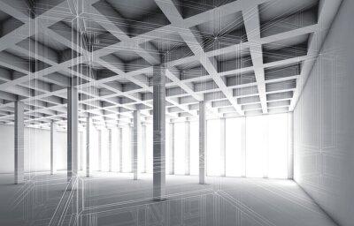 Наклейка 3d пустой интерьер с эффектом проволоки рамки