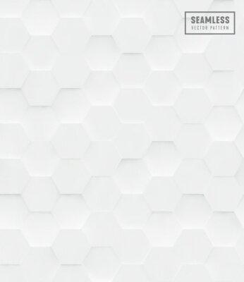Наклейка 3d Шестигранный полигональный бесшовный фон, белый геометрический фон бизнес