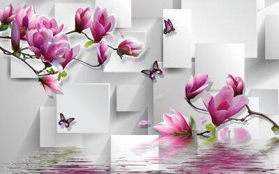 Наклейка 3d illustration, light background, rectangles, butterflies, magnolia