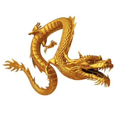 Наклейка 3D визуализации золотого дракона