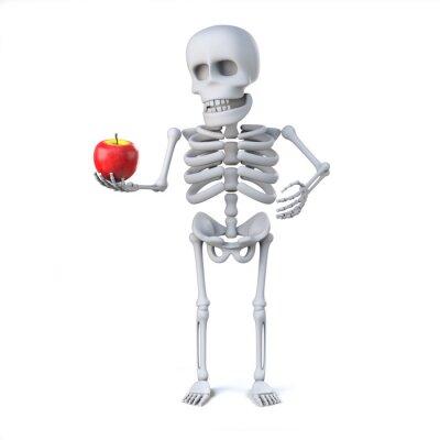 Наклейка 3d Скелет принес яблоко для учителя