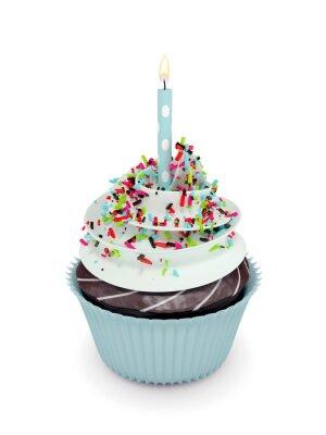 Наклейка 3d сладкий кекс со свечой на белом
