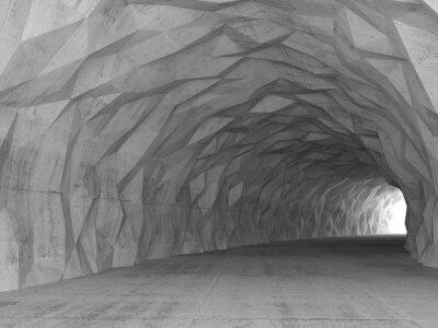 Наклейка 3d туннель интерьер с хаотической многоугольной рельефа