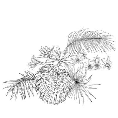 Наклейка A composition of tropical plants, palm leaves