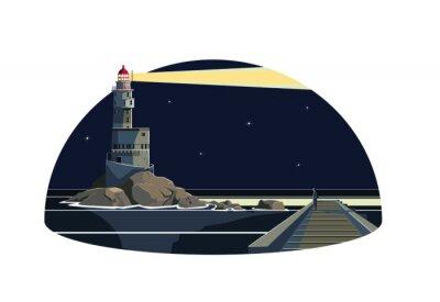 Наклейка Человек в дамбе ищет маяк молнии в ночи