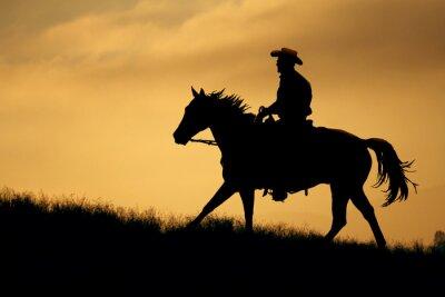 Наклейка Силуэт ковбоя и лошадь ходить до луг с оранжевым и желтым фоном неба.
