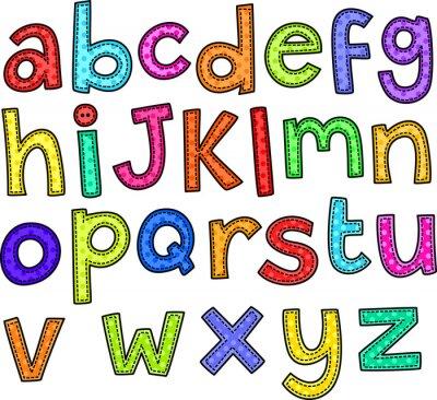 Наклейка Стиль стежка каракули набор рисованной буквы алфавита.