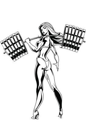 Наклейка Сильная девушка с тяжелым штангой