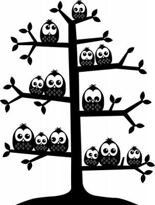 Наклейка дерево полна совами
