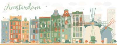 Наклейка Абстрактный горизонт города Амстердама с цветными зданиями. Векторные иллюстрации. Концепция делового туризма и туризма с историческими зданиями. Изображение для презентации, баннера, плаката и веб-са