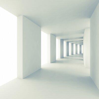 Наклейка Аннотация архитектуры фон 3d, пустой белый коридор