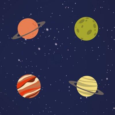 Наклейка Абстрактные планеты Мультфильм