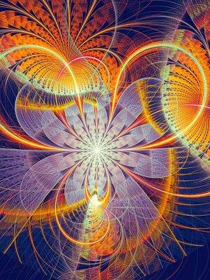 Наклейка Абстрактные генерируемые компьютером изображение полосатый цветок