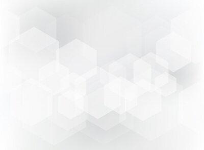 Наклейка Абстрактный геометрический шестигранник наложения на белом и сером фоне.