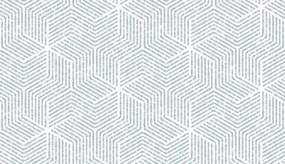 Наклейка Абстрактный геометрический узор с полосами, линиями. Бесшовные векторные фон Белый и синий орнамент. Простой решетчатый графический дизайн