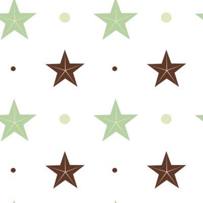 Наклейка абстрактный зеленый и коричневый звезды бесшовные модели вектор иллюстрации фона в скандинавском цветов