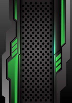 Наклейка Абстрактное зеленое темное серое футуристическое на иллюстрации вектора предпосылки дизайна сетки круга современной футуристической.