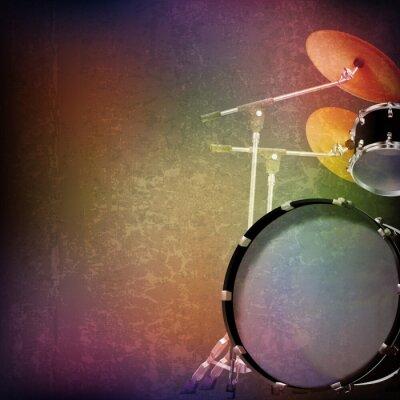 Наклейка абстрактный фон гранж с барабанной установкой