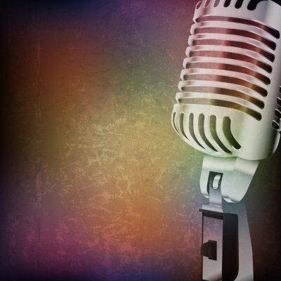 Наклейка абстрактный фон гранж с ретро микрофон