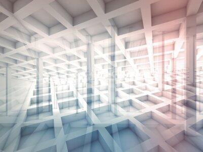 Наклейка Абстрактные пересекающиеся клеточные структуры, 3d иллюстрации
