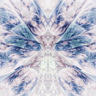Наклейка Abstract intricate symmetrical rose and blue ornament. Fantastic fractal design. Psychedelic digital art. 3d rendering.