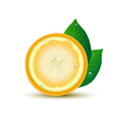 Наклейка Абстрактный лимона с листьями и капли на белом фоне