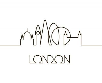 Наклейка абстрактные линейные иллюстрации города Лондон на белом фоне