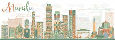 Наклейка Абстрактный Манила Skyline с цветовыми зданий.