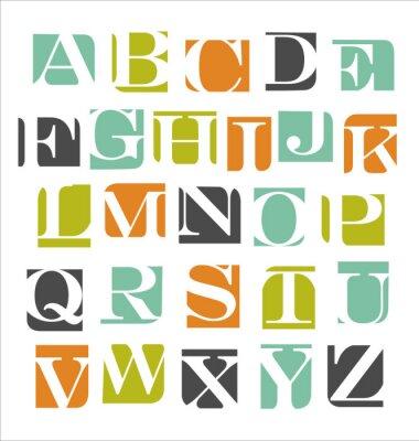 Наклейка абстрактные современные алфавит плакат