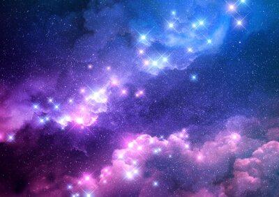 Наклейка Абстрактный розовый и синий фон галактики заполнены яркими звездами. Растровые иллюстрации.