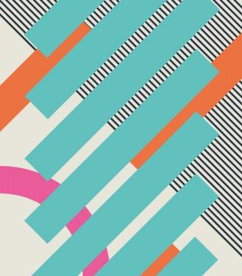 Наклейка Абстрактный фон ретро 80-ых с геометрическими формами и рисунком. Материал конструкции.