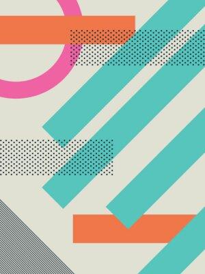 Наклейка Абстрактный фон ретро 80-ых с геометрическими формами и рисунком. Материал обои дизайн.