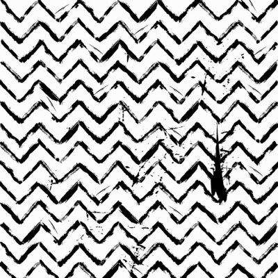 Наклейка абстрактный бесшовные зигзаг узор черно-белый