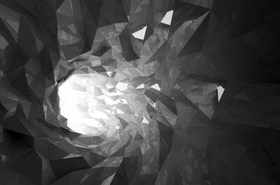 Наклейка Абстрактный блестящий черный кристалл цифровой туннеля 3d