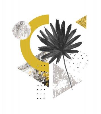 Наклейка Абстрактные летние геометрические фигуры, экзотические листья. Треугольники заполнены мрамором, гранж текстуры, каракули, акварель веер пальмовых листьев. Ручная роспись геометрического искусства иллю