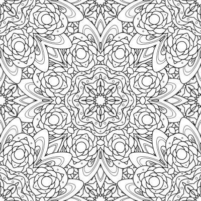 Наклейка Абстрактные векторные декоративные этнические мандалы черный и белый бесшовные модели.