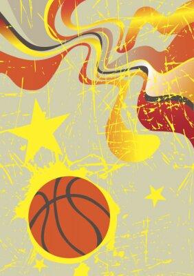Наклейка Аннотация вертикальный баннер с желтыми звездами баскетбола