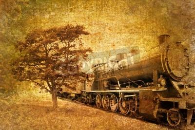 Наклейка абстрактные старинные паровой поезд