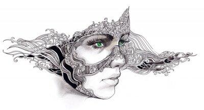 Наклейка абстрактный женщина лицо