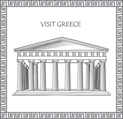 Наклейка Акрополь в Афинах, Греция. Посетить Греция карту. Декоративные традиционный греческий вектор кадра.